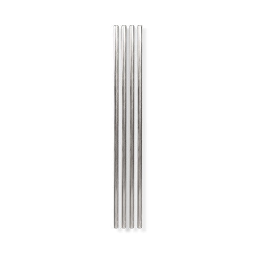 Metal Straws, Silver, 10 inch - Set of 4