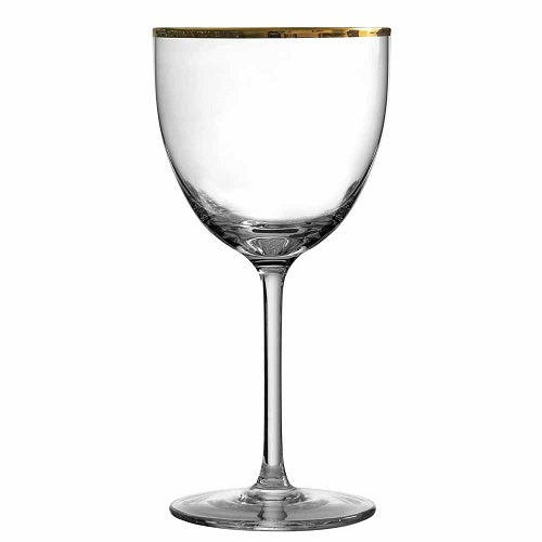 Retro Nick and Nora Cocktail Glass Gold Rim