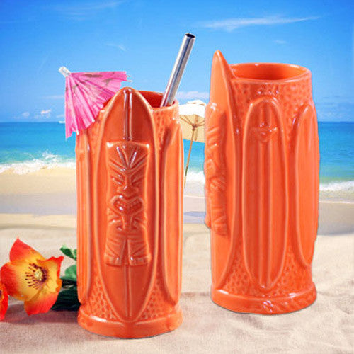 Orange Surfer Dude Tiki Glass
