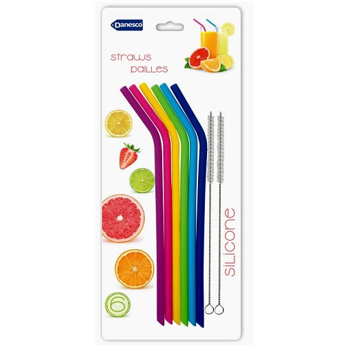 Reusable Silicone Straws - Set of 6