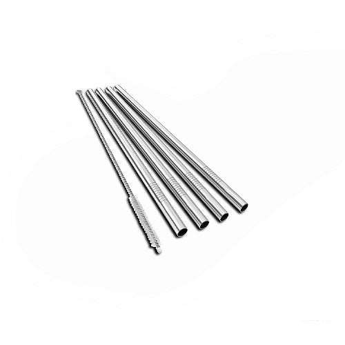 BarStraws - pack of 4 stainless steel straws and a cleaning brush