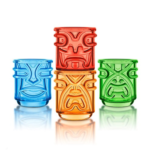 Set of 4 Tiki Tumbler Glasses (Coloured)