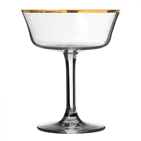 Retro Fizzio Gold Rim Coupe  - Set of 6