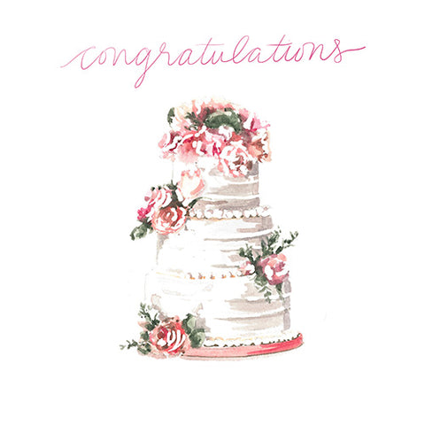 Congratulations Wedding Cake Greeting Card - Blank