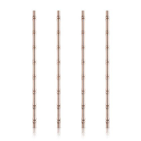 Viski Copper Bamboo Straws - Set of 4