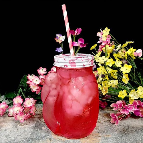 Pink Flamingo Mason Jar