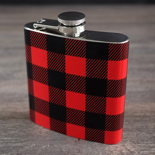 Red Plaid Flask 6 oz
