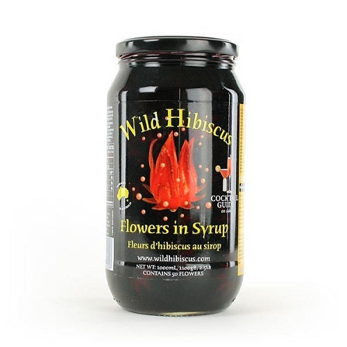 Wild Hibiscus Flowers in Syrup, 50 Flower Jar