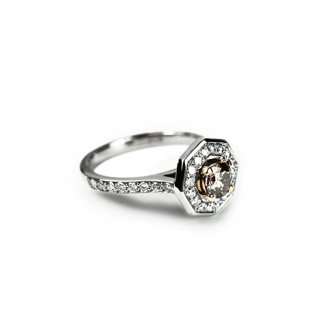 750 18k White gold Champagne diamond centre and Pave set White diamond halo octagonal engagement ring Berlin