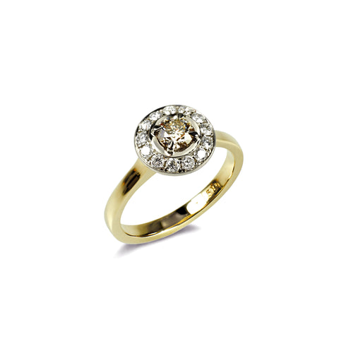 750 18k Yellow gold 0.50ct Classic Champagne diamond set in a halo of white diamonds Engagement ring Berlin