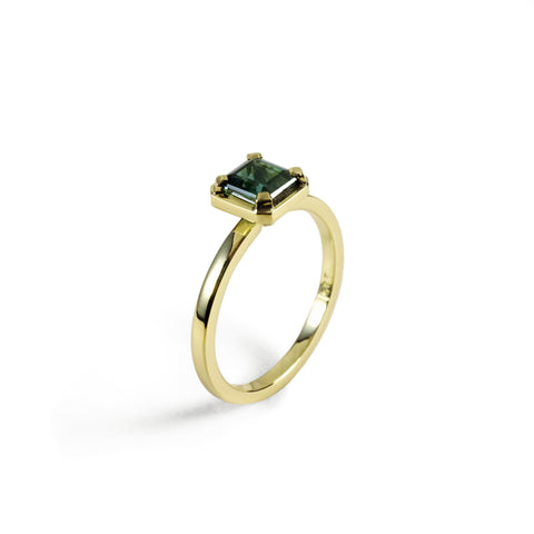 750 18k Yellow gold 1.2ct Green Tourmeline princess asscher cut engagement ring Berlin