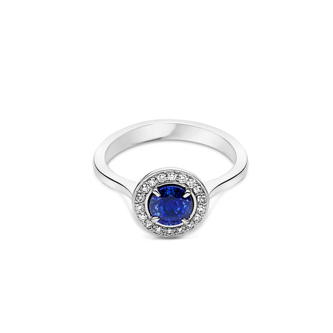 750 18k White gold Australian Blue Sapphire engagement ring with White diamond halo Berlin