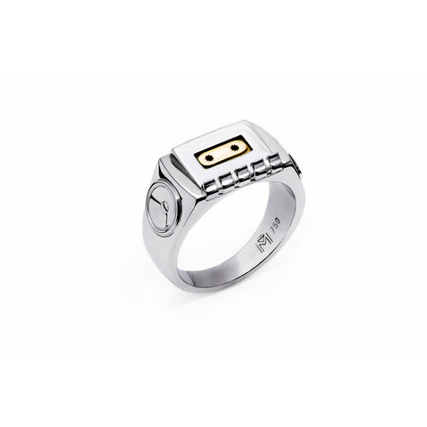 750 18k White gold and Yellow gold Tapedeck signet ring Berlin