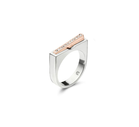 750 18k White gold Rose gold slim signet ring Pave set with white diamonds on angled sleeve Berlin