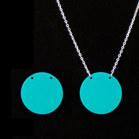 Acrylic circle pendant necklace blank 1 5/16 with 2 holes sold in sets of 5 -multiple colors & finishes - CraftChameleon  - 1