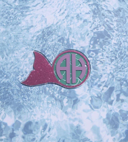 Mermaid Tail Monogram Circle Shaped Acrylic - CraftChameleon  - 1