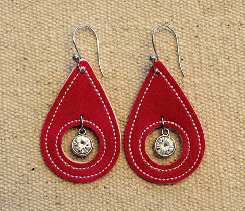 "In The Hoop Embroidery Faux Leather 2"" Open Center Elongated Drop Earrings Design Only"