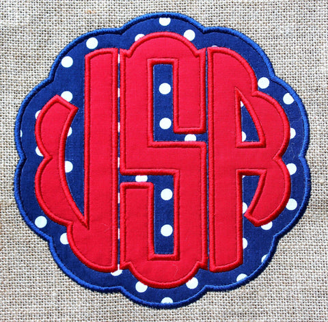 Ruffled Monogram USA Embroidery Applique Design Only