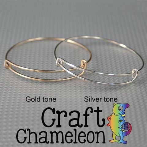 Set of 5 ~ Adjustable Silver and Gold Tone Bangle Charm Bracelets - CraftChameleon