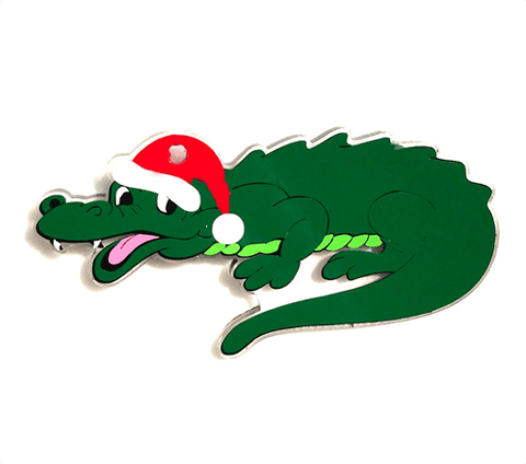Alligator with Santa Hat Shaped Acrylic - CraftChameleon