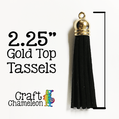 "Set of 5 ~ 2.25"" Tassels with Gold Tops - CraftChameleon"