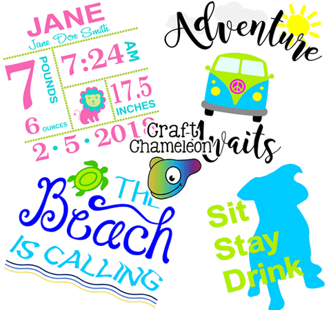 The Beach is Calling ~ Sit Stay Drink ~ Adventure Awaits ~ Baby Stats ~ Digital Design Bundle - CraftChameleon