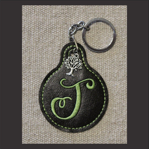 In The Hoop Embroidery Faux Leather Circle with Tab Key Fob Design Only - CraftChameleon