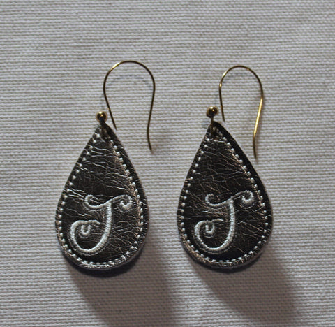 "In The Hoop Embroidery Faux Leather 1.5"" Elongated Drop Earrings Design Only"
