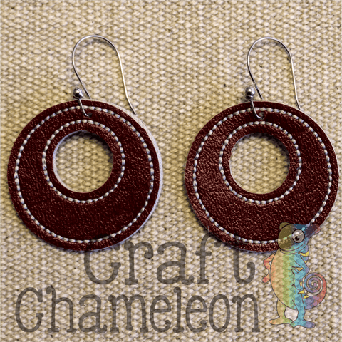 "In The Hoop Embroidery Faux Leather 1.5"" Double Circle Earrings Design Only - CraftChameleon"