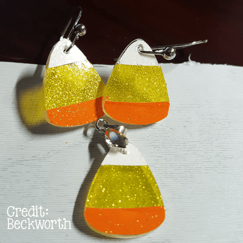 Candy Corn Acrylic Charm Shape for Bracelet Necklace Earrings ~ Set of 10 - CraftChameleon