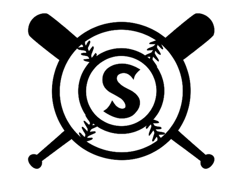 Baseball with Crossed Bats Monogram Digital Design