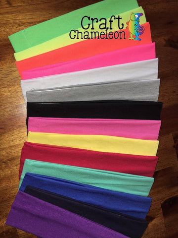 Solid Cotton Stretch Knit Headbands ~ Sets of 10 - CraftChameleon
