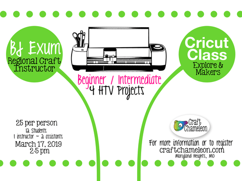 Cricut Explore & Maker Beginner / Intermediate - 4 HTV Projects Class - Space is limited