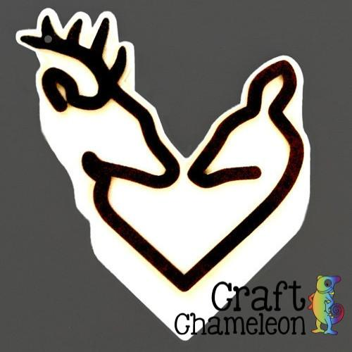 Deer Head Heart Acrylic Shape - CraftChameleon  - 1