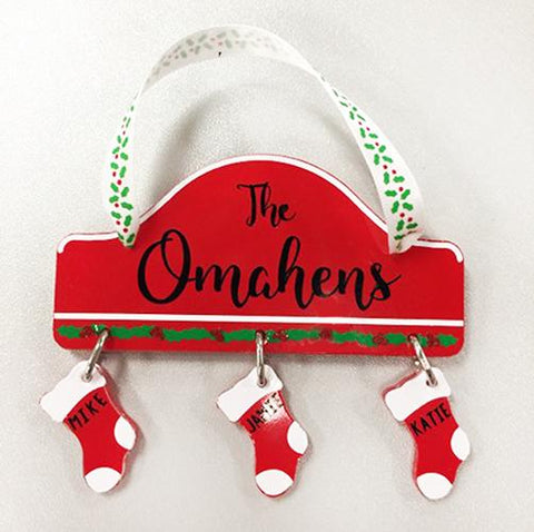 Christmas Mantle/Stocking Ornament Acrylic Blank Shape ~ Christmas Personalized Ornament