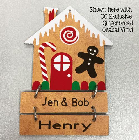 Personalizable Blank Acrylic Gingerbread House Mini Sign/Ornament  Set