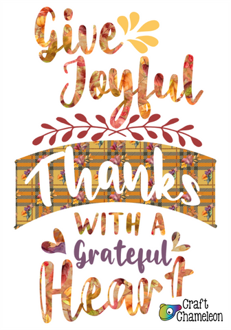 Give Joyful Thanks Tea Towel Sublimation Digital Design