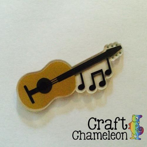 Guitar with Music Notes Acrylic Shape - CraftChameleon  - 1