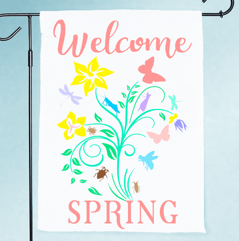 Welcome Spring Flowers Digital Design