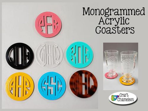 Acrylic Laser Cut 3 Letter Monogram Coasters ~ Set of 4