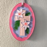 Easter Cross Oval Shaped 3D Acrylic Blank Peel n Stick Basket Tag Ornament - CraftChameleon