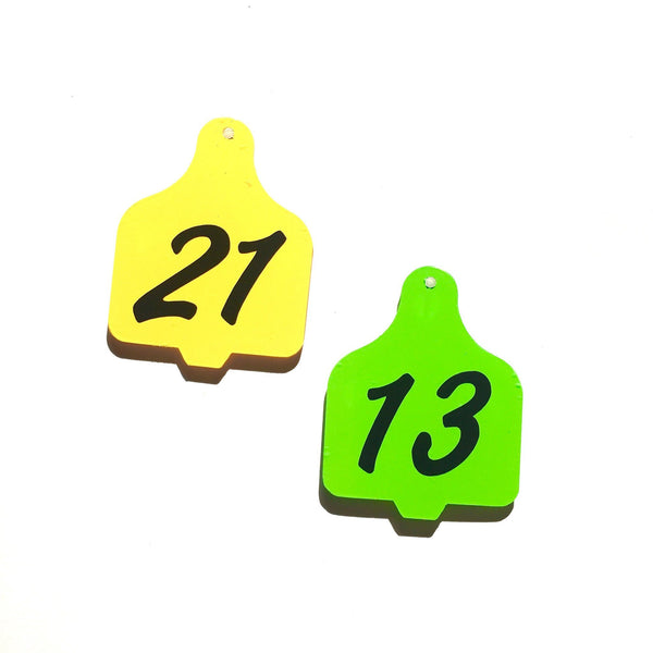 Set of 10 ~ Cow Ear Tag Acrylic Charm Shape for Bracelet Necklace Earrings - CraftChameleon  - 1
