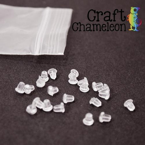 Set of 20 ~ Hypo-Allergenic Earring Clear Soft Backs - CraftChameleon
