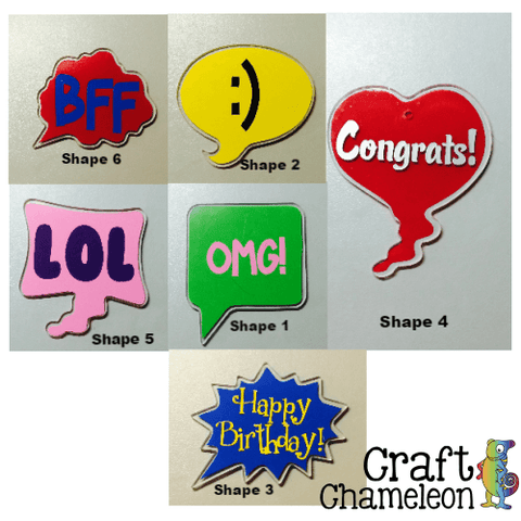 Set of 5 ~ 3 inch Acrylic Shaped Conversation Bubbles - CraftChameleon  - 1