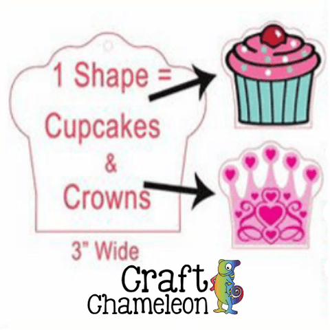 Set of 5 ~ Cupcake OR Crown Acrylic Shape - CraftChameleon  - 1