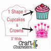 Set of 5 ~ Crown OR Cupcake Acrylic Shape - CraftChameleon  - 1