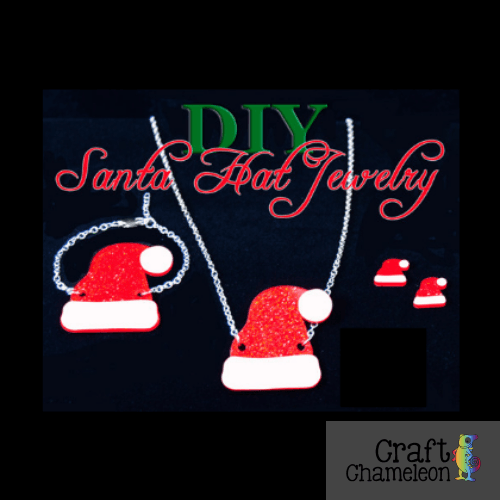 Set of 5 or 6 pairs (earrings) ~ Acrylic Santa Hat Pendant and DIY Earrings - CraftChameleon  - 1