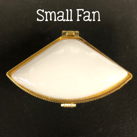White Plain Ceramic Trinket or Ring Box Hinged Lid with Gold Trim -2 Sizes -Sets of 3