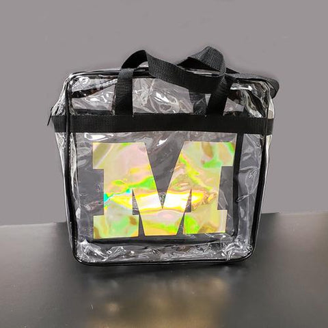 Clear Stadium Concert Blank bag with black trim and handles