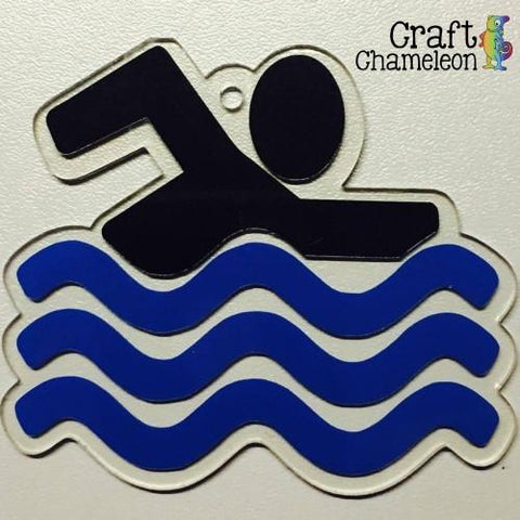 Acrylic Shaped Swimmer Swimming Person - CraftChameleon  - 1